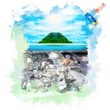 Sunny tropical beach on the island Stock Image