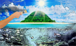 Sunny tropical beach on the island. Hand painting beautiful sunny tropical beach on the island paradise in the middle of the sea Stock Image