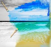 Sunny tropical beach on the island Stock Photos