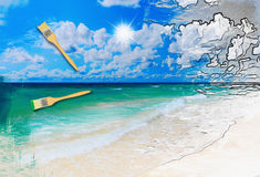 Sunny tropical beach on the island Royalty Free Stock Photography