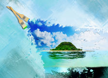 Sunny tropical beach on the island. Hand painting beautiful sunny tropical beach on the island paradise in the middle of the sea Royalty Free Stock Image