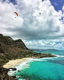 Sunny Tropical Beach Landscape. And seascape on Oahu, Hawaii. This is a sand beach vacation in the summer Stock Photo
