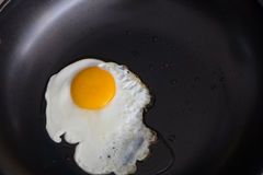 Sunny up fried egg in pan Royalty Free Stock Photo