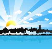 Sunny urban panorama background. Vector illustration of a beautiful sunny happy urban landscape background with water reflection. Sun and clouds in the sky Royalty Free Stock Photo