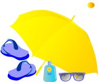 Sunny Vacation supplies... With sun glasses, suntan lotion, flip flops, and umbrella, ready for sunny vacation in paradise Royalty Free Stock Photo