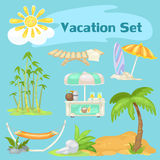 Sunny vacaton beach set on a blue background. Sunny vacaton beach vector set on a blue background Royalty Free Stock Image