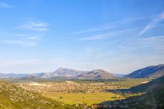 Balkans landscape. Sunny valley and Balkans in Bosnia and Herzegovina stock photo