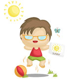 Sunny. A vector set of a kid jumping in a sunny sky Royalty Free Stock Image