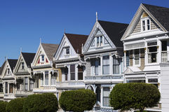 Sunny victorian houses on postcard row. Famous victorian houses on postcard row in San Francisco, CA royalty free stock photography