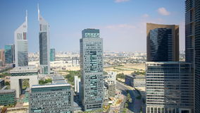 Sunny view 4k time lapse from sunny dubai center Stock Photo
