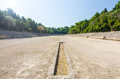 Sunny view for ancient stadium on Rhodes Royalty Free Stock Image