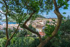 Sunny view of buildings of Angra do Heroismo from Alto da Memoria, Azores, Portugal