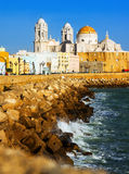 Sunny view of  Cathedral. Cadiz, Spain Royalty Free Stock Photo