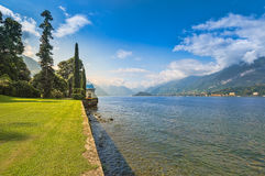 Sunny view of the gardens of Villa Melzi, Bellagio, Lake Como, I Royalty Free Stock Image