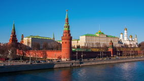 Sunny view at Kremlin complex at Moscow river bank stock video footage