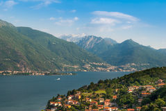 Sunny view on lake Como Stock Photos