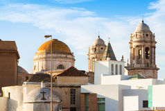 Sunny view of Old Cathedral. Cadiz Royalty Free Stock Photo