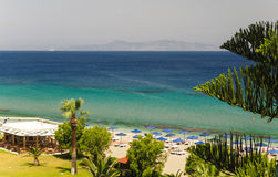 Sunny view on sea, Rhodes, Greece Stock Photography