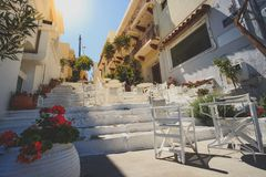 Sunny view on a small Greek terrace. On a very beatifule day stock images