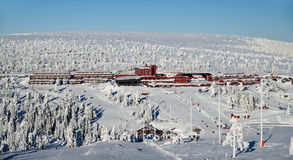 Ski village hotel Royalty Free Stock Photos
