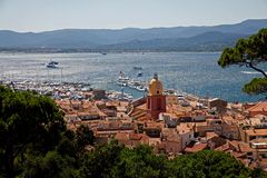 Sunny view from the top to st tropez Royalty Free Stock Photo