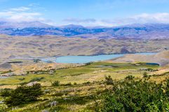 Sunny view, Torres del Paine National Park, Chile. View of a nice lake in the Torres del Paine National Park, Patagonia, Chile royalty free stock photos