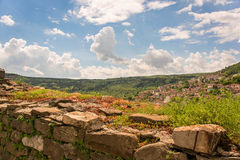 A sunny view of Veliko Tarnovo. A view from the old castle onto Veliko Tarnovo and surrounding mountains, Bulgaria Stock Photography