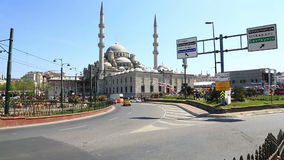Sunny view at the Yeni Cami in Istanbul stock video footage