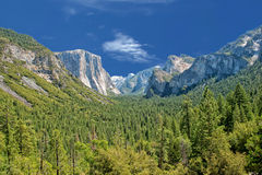 Sunny view of yosemite valley national park Stock Photography
