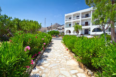 Sunny walkside on Creete. Greece Royalty Free Stock Images