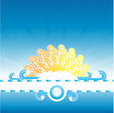 Sunny water splash banner stripe. Vector illustration of a multi layered sunny summer background design. Empty striped frame for custom text, funky floral sun Stock Photography