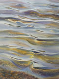 Sunny water watercolor. Sea view background. Blue sea or ocean transparent shallow water over pebble bottom of stony beach coast. Wave is incident on the beach Royalty Free Stock Image