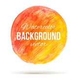 Sunny watercolor circle with color transition from red to welloy Stock Images