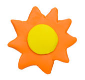 Sunny weather forecast icon symbol plasticine clay Stock Photography