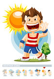 Sunny. Weather Icon. With People illustration in Detailed Vector