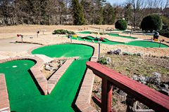 Sunny weather at mini golf course Royalty Free Stock Photography