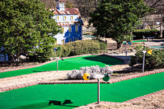 Sunny weather at mini golf course Stock Photo