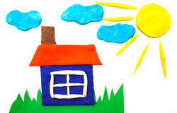 Sunny weather  picture maded by plasticine Royalty Free Stock Image