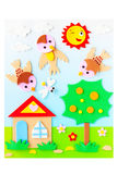 Sunny weather picture maded by plasticine Stock Photos