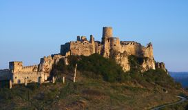 Tight view of the Spis castle from the southeast in the morning in early spring stock photos