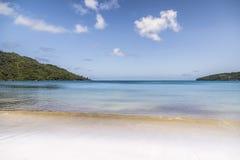 Sunny white beach. Saychelles islands. Stock Photo
