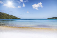 Sunny white beach. Saychelles islands. Stock Image