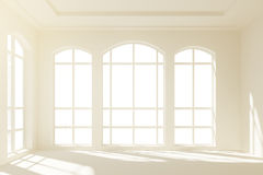 Sunny white loft interior with big windows Royalty Free Stock Photo