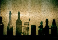 Sunny window with the bottles royalty free stock photography