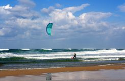 Perfect weather on the Mediterranean sea for kitesurfing stock photo