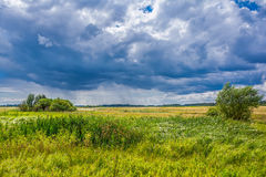 Sunny windy landscape and stormy clouds with rain Stock Photo