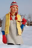 Sunny winter. She is wearing stylish winter clothes Royalty Free Stock Photos