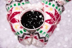 Sunny Winter colored gloves with mulled wine and falling snow. Sunny Winter day and colored gloves with mag of mulled wine and falling snow Stock Image