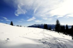 Sunny winter day. Beautiful view from Piatra Craiului mountains,Romania Royalty Free Stock Photos