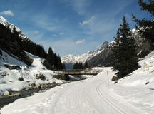 Sunny winter day. Winter holiday in Pitztal, Austria Royalty Free Stock Photo